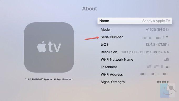 Серийный номер Apple TV в разделе О программе настроек