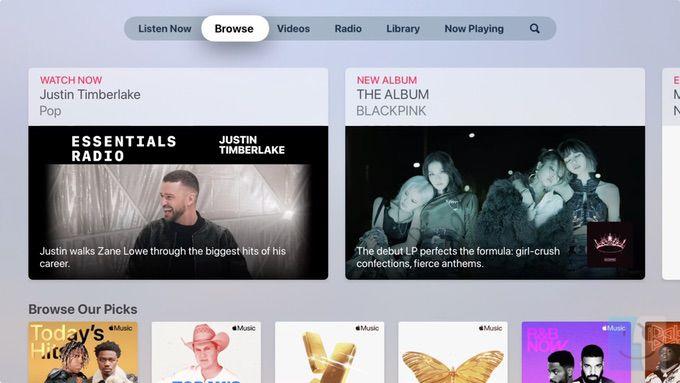 Просмотр музыки на Apple TV