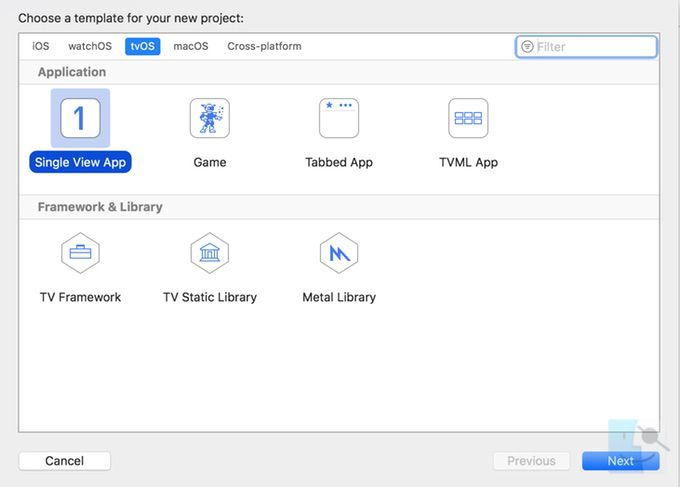 выберите File New Project tvOS Single View App