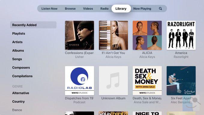 Библиотека в музыке на Apple TV