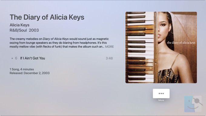 Песня в библиотеке в музыке на Apple TV