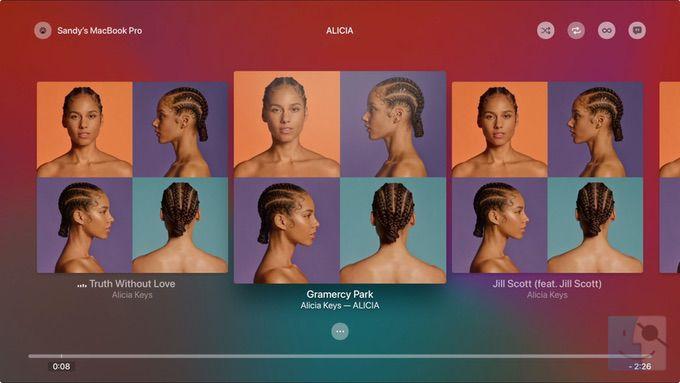 Альбом Сейчас воспроизводится в музыке на Apple TV