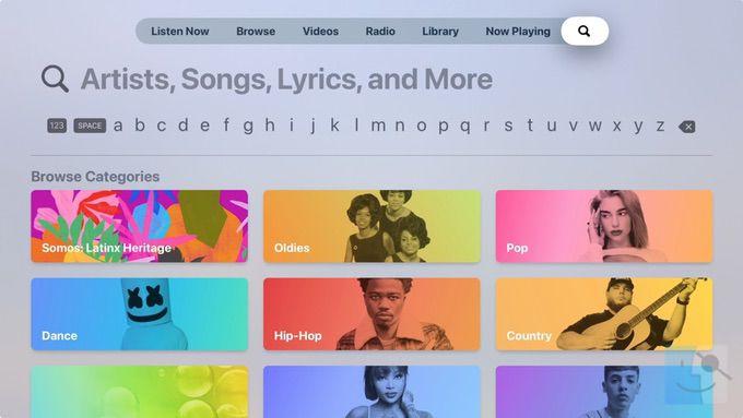 Поиск музыки на Apple TV