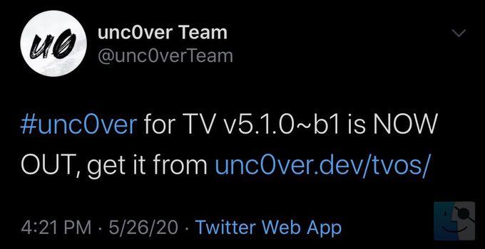 Unc0ver for TV v510 b1 выпущен с поддержкой последней версии tvOS