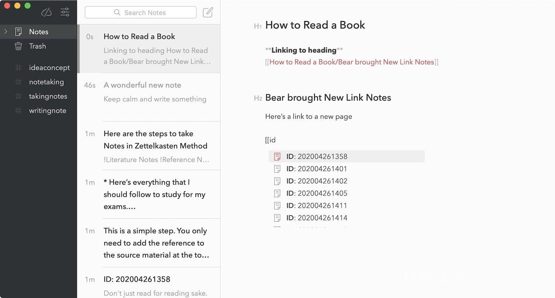 Связанные заметки и обратные ссылки приложения Bear