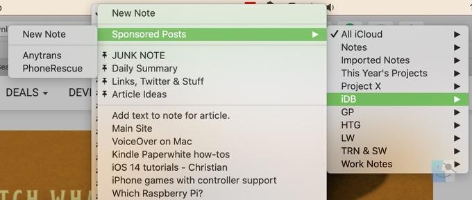 Выберите расположение заметок в Safari на Mac
