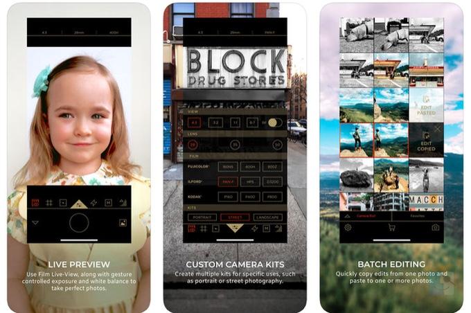 Скриншоты Filmborn приложения камеры для iOS