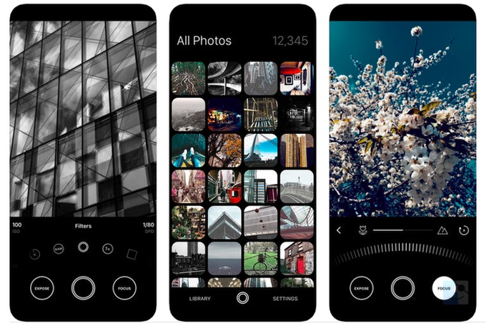 Скриншоты минималистичного приложения для камеры iPhone Obscura 2