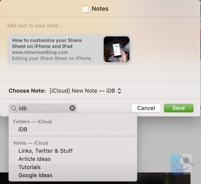 Поиск места для заметок в Safari на Mac