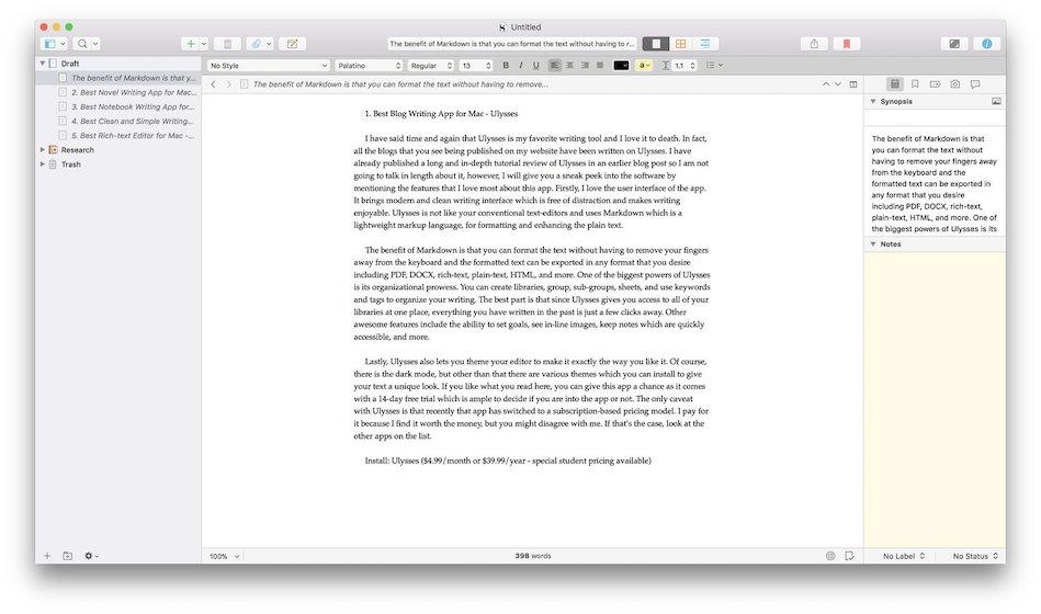 2. Scrivener - Лучшее приложение для написания романов 2