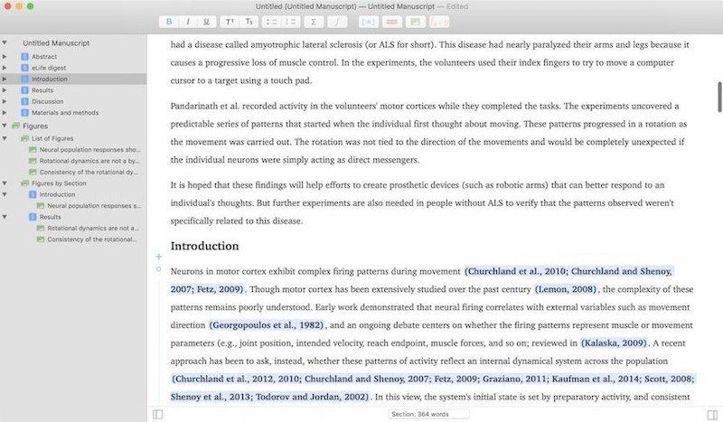 5. Рукописи - лучшее приложение для академического письма для Mac 1