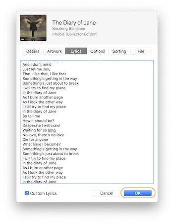 Добавление собственных текстов к песням в Apple Music 4