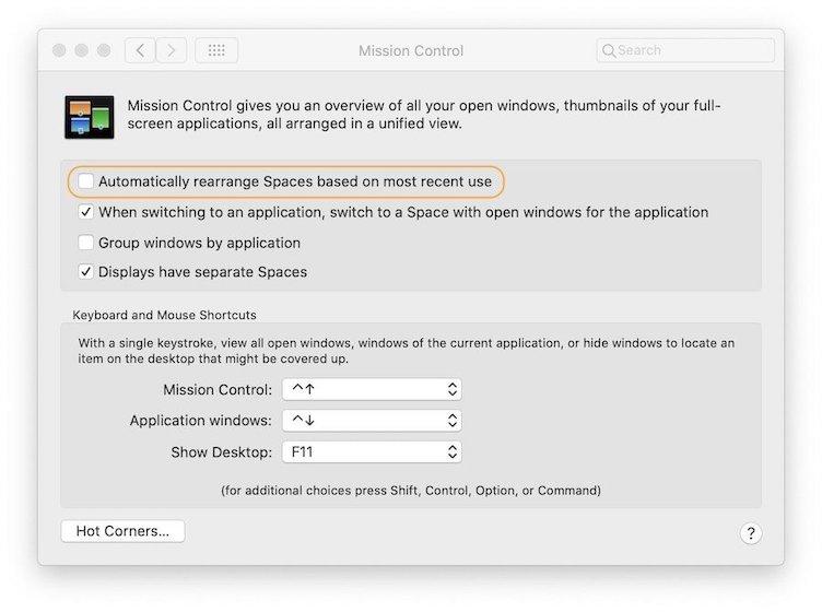 Остановить перестановку пространств Mac 3