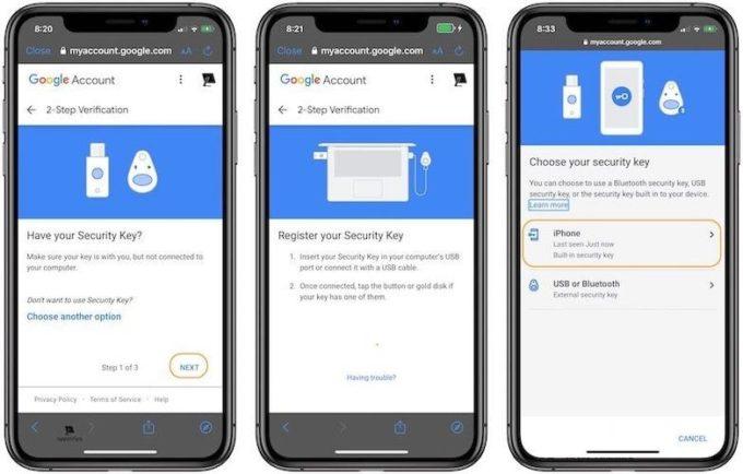 Шаги по включению встроенного электронного ключа iPhone в качестве двухфакторной аутентификации в Google 6