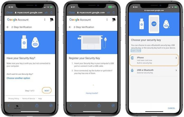 Как использовать iPhone в качестве физического ключа безопасности для двухфакторной аутентификации в Google