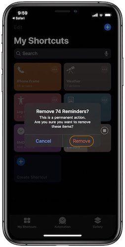 Удалить завершенные напоминания в Apple Reminders 3