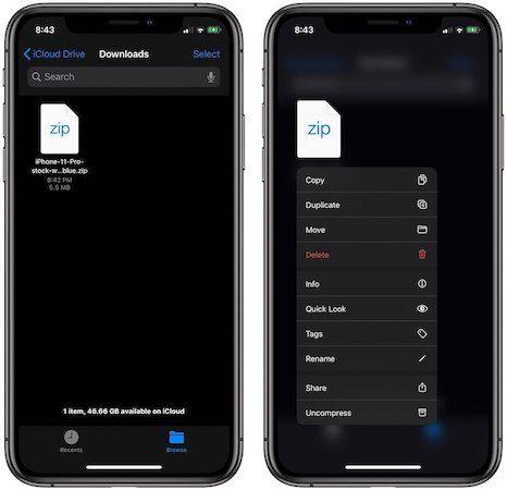 Открытие ZIP-файлов на iPhone и iPad