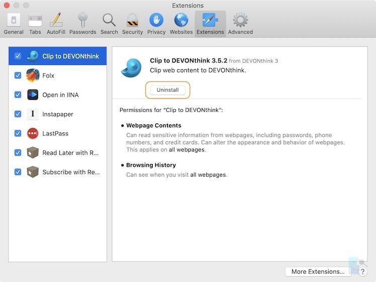Как удалить расширения из Safari на Mac